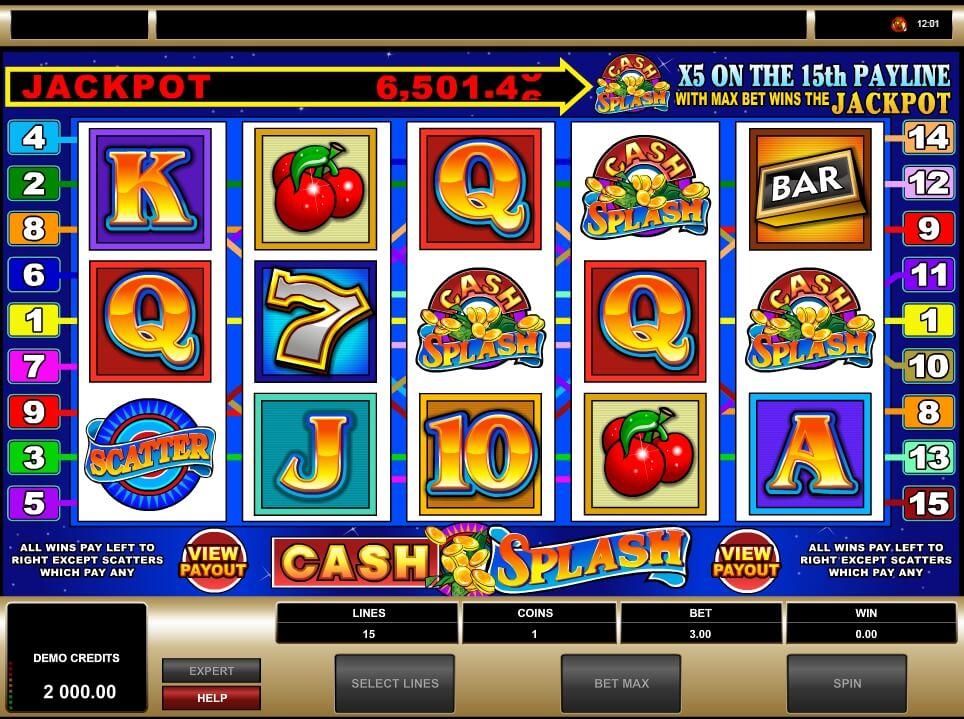 cash splash 5 reel spielautomat - microgaming