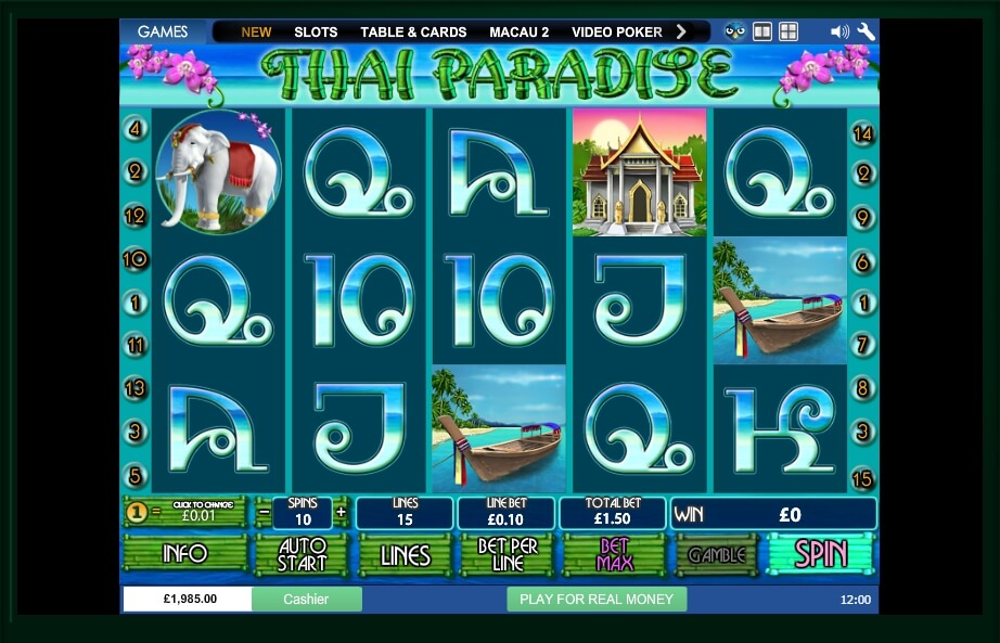 thai paradise spielautomat - playtech
